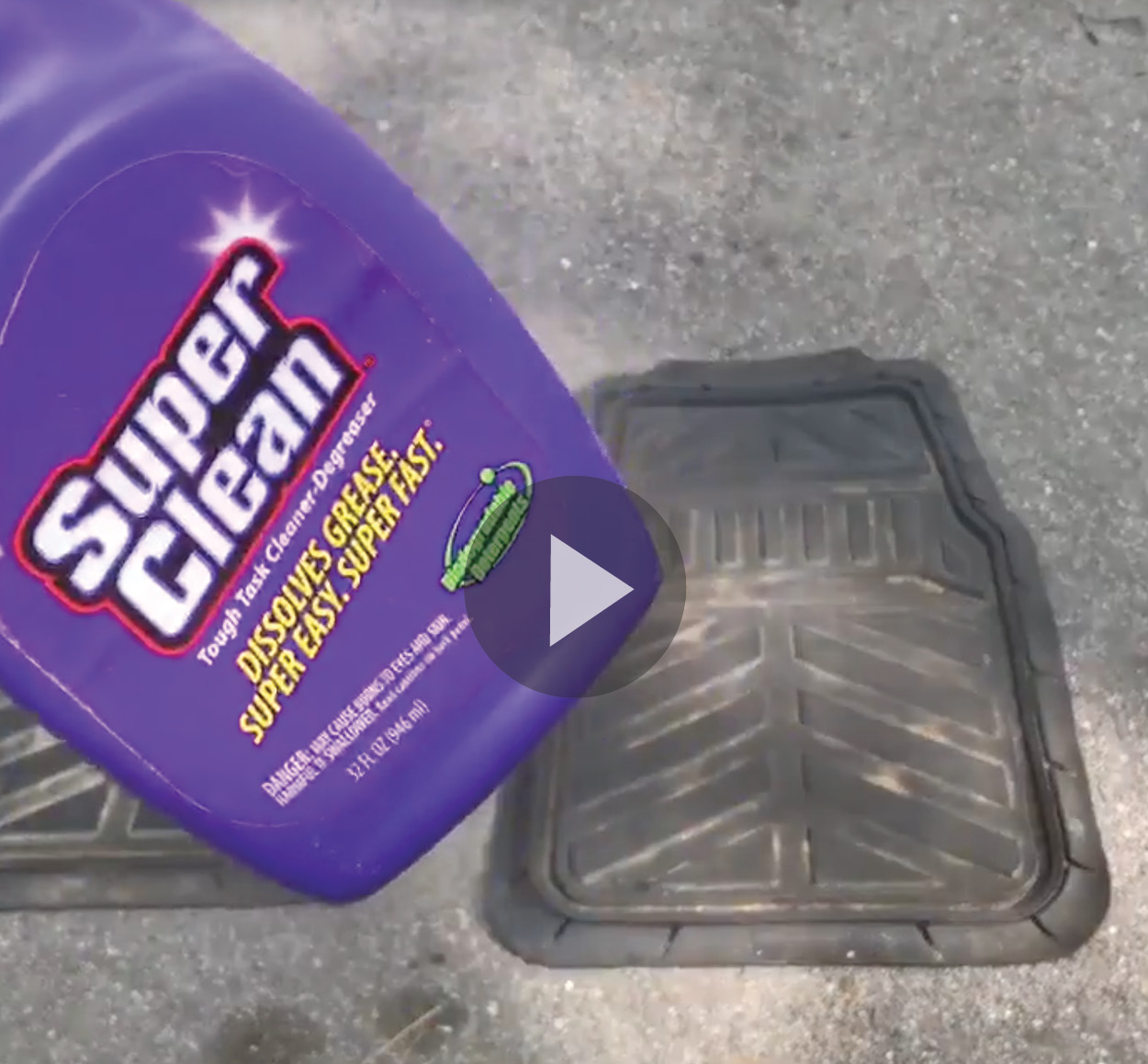 Rubber Floor Mat on ground with bottle of Super Clean