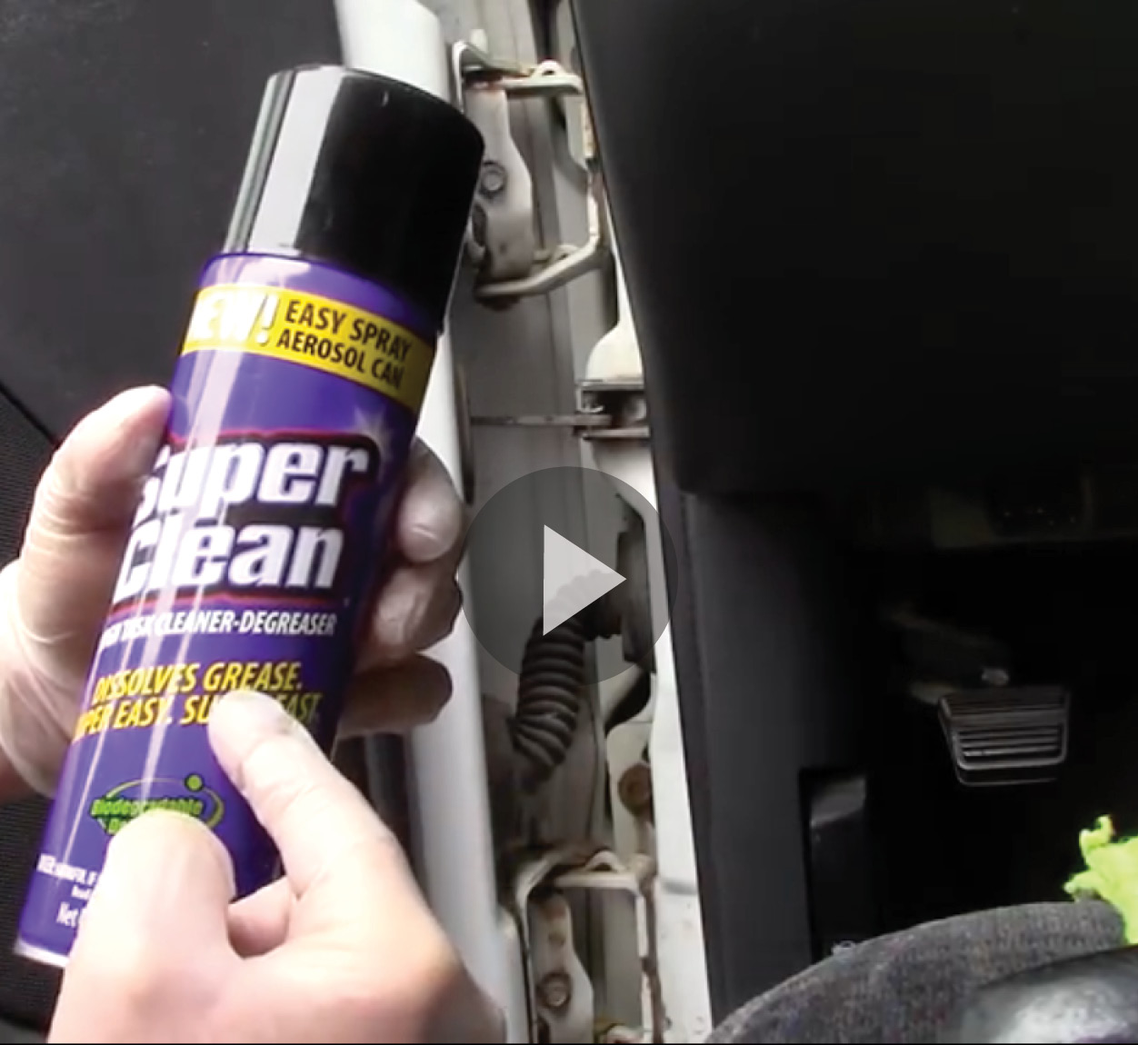Door jamb with hand holding Super Clean Aerosol